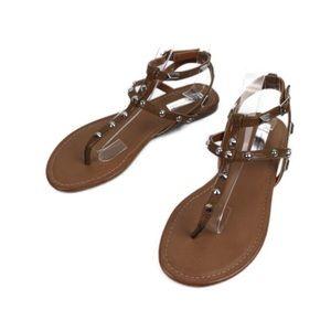 INC Mirabai Brown Gladiator Studded Sandal
